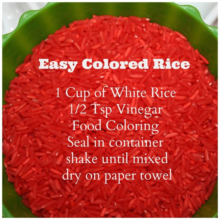 colored rice recipe. I'm thinking of having some of the colors in my Atrium's Practical Life correspond with liturgical colors (white, purple, green, red). This would be fun in the rice/salt sifting work.