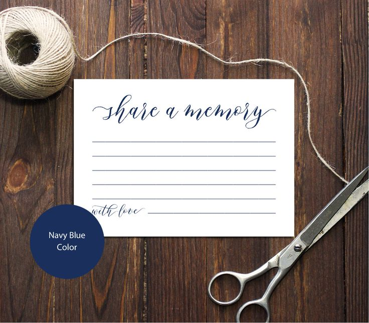 PDF Navy Blue 3,5x5 Share a memory card INSTANT DOWNLOAD Best wishes for happy couple Memory Card for newlyweds calligraphy Cards Printable by DreamPrintable on Etsy