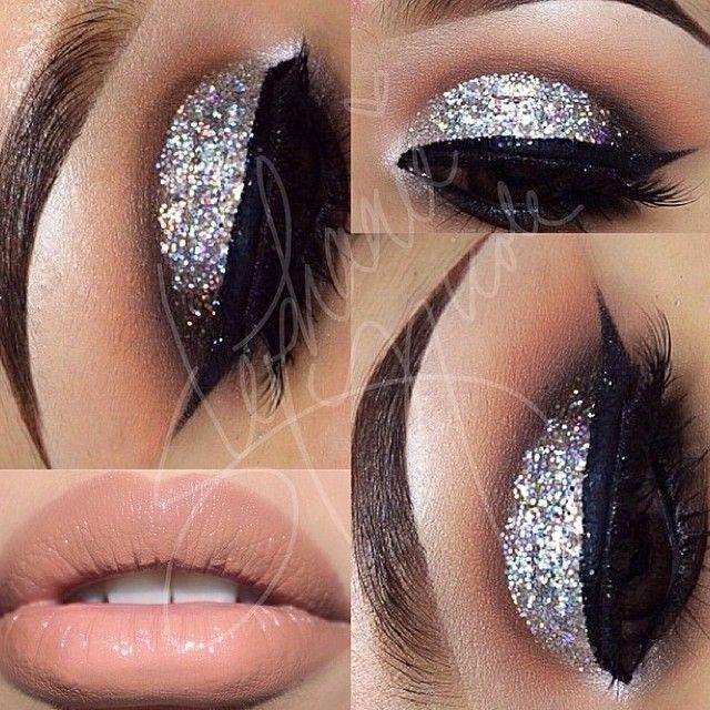 silver glitter smokey eye w/ nude lip