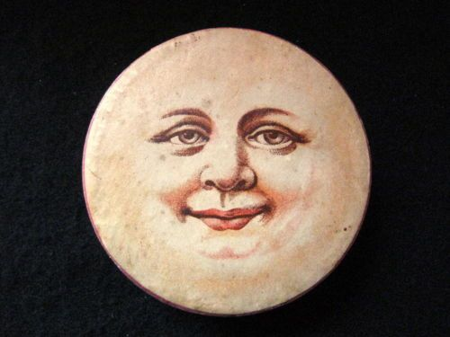 Man in the Moon Antique German Christmas Cardboard Candy Box Ornament