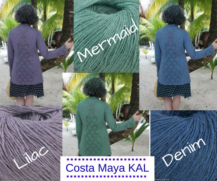 I'm getting so excited to start the Costa Maya KAL! The team at Fiber Wild was doing a little playing in Photoshop, and made versions of the cardi in Mermaid and Denim, so you can see how it would look in those colors! Get your order in now and get ready to cast on!