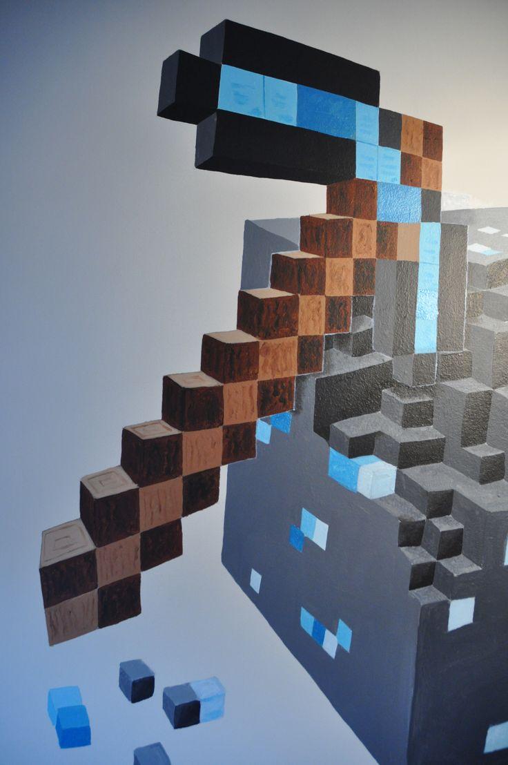 Mural Minecraft Diamond Pickaxe & Block detail, by Andrea Haandrikman