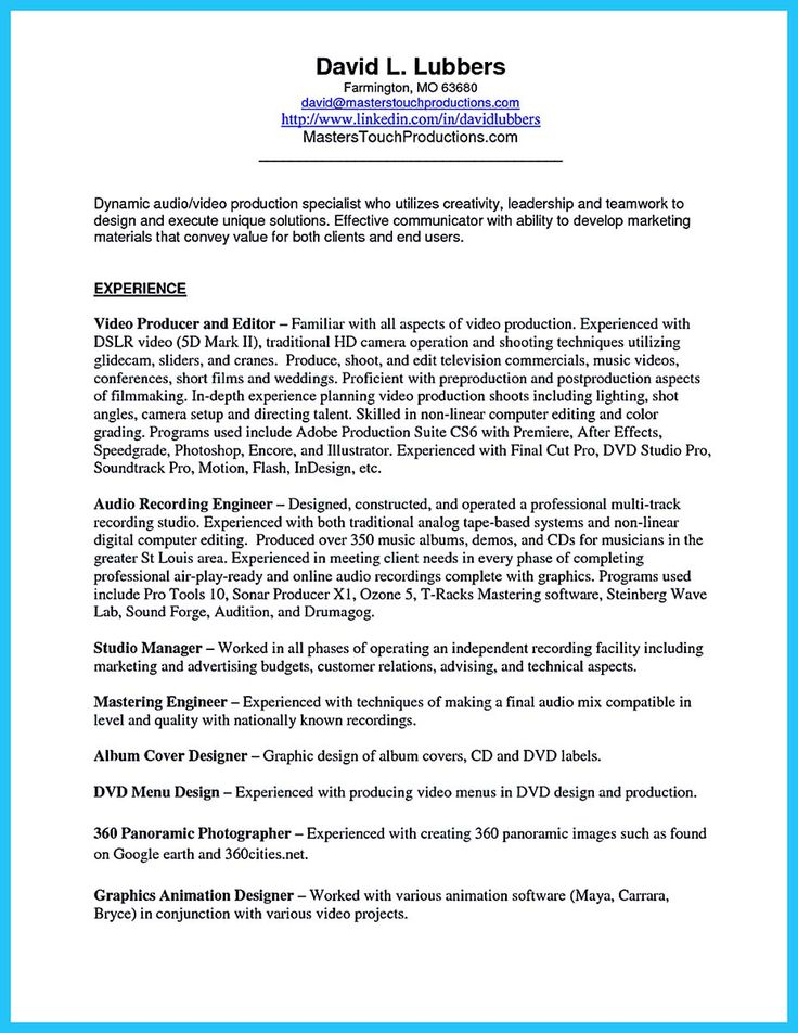 cool Crafting a Representative Audio Engineer Resume, Check more - recording engineer sample resume