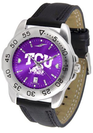 Texas Christian Horned Frogs Sport AnoChrome Men's Watch with Leather Band