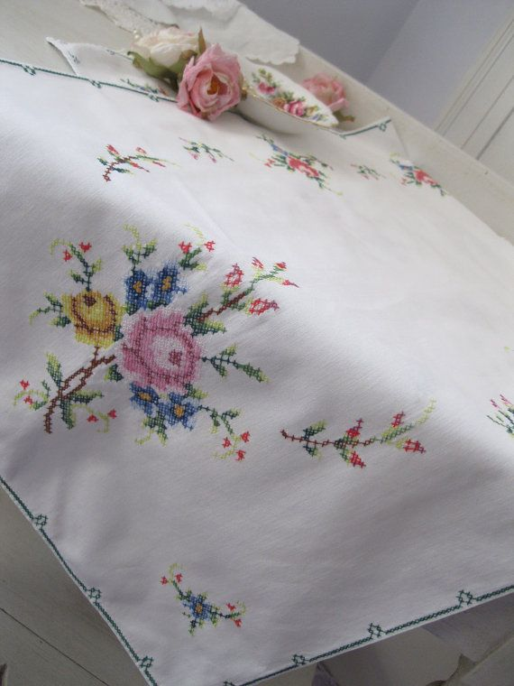 Runner, Cross Stitch Runner, Roses, Cottage Charm, French Country  Beautifully stitched cross stitch runner with a lot of detail. It is a soft cotton, and all sides are hemmed, with a lot of extra detail.  It measures 41 1/2 long, by 16 wide. I have carefully soaked, washed and pressed it and it is lovely and clean, and in wonderful vintage condition.