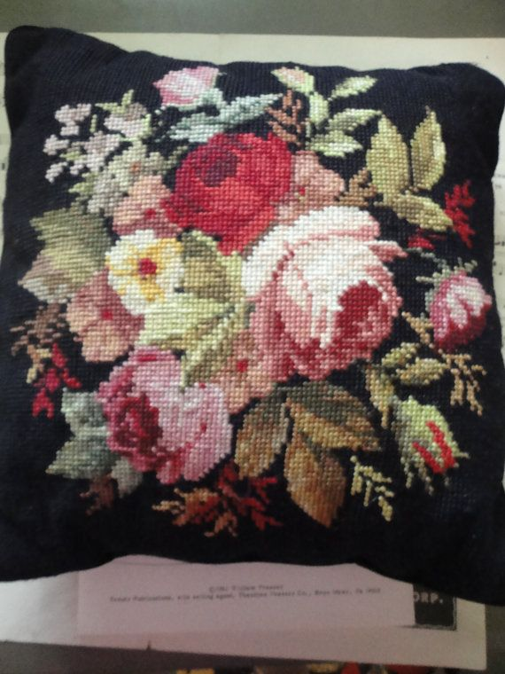 Pretty black pillow with floral needlepoint by sweetoldthings