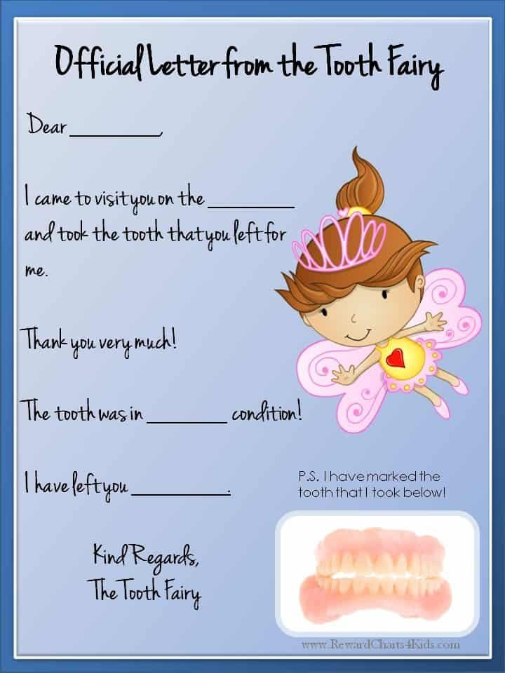 Tooth Fairy Letter Free Printable Tooth Fairy Letter Template Tooth Fairy Letter Tooth Fairy Certificate