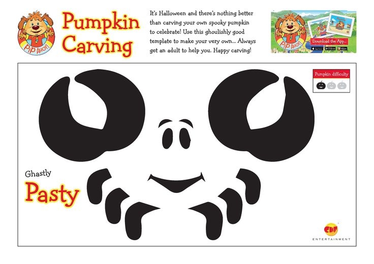 Use these ghoulishly good template to carve your very own Ghastly Pasty Pumpkin! Always get an adult to help you! #Halloween #HappyCarving #GhastlyPasty