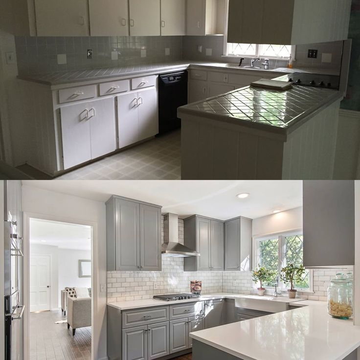 Before and after kitchen by Rooted KC www.rootedkc.com #graykitchen #Gray #graycabinets #rustic #modern #farmhouse