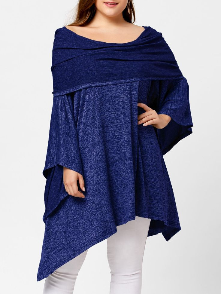 Asymmetric Plus Size Off Shoulder Tunic Top, DEEP BLUE, ONE SIZE in Plus Size Sweatshirts & Hoodies | DressLily.com