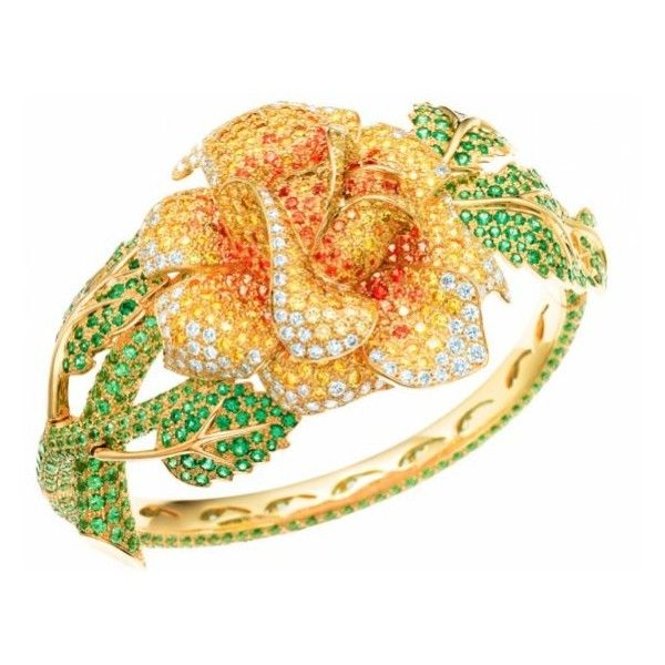 Tiffany & Co. Bangle with white and yellow diamonds, tsavorite,... ❤ liked on Polyvore