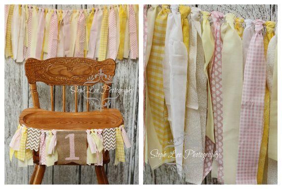 SET Yellow Pink Cream Highchair 1st / First Birthday Fabric Strip Banner, Newborn Photography Banner, Rag Garland, Fabric Strips