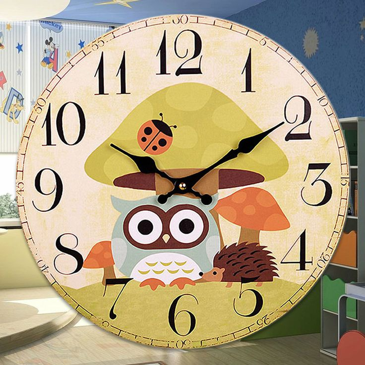 Cute Owl Mute Watch Vintage Wall Clock Relogio De Parede Kids Wall Clocks French Country Home Decor 12 Inches
