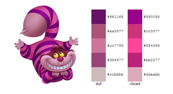 #color #palette #scheme Alice in Wonderland (Disney) - Cheshire Cat