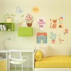 Kit Cameretta Home Sweet Home Drawing Wall Sticker Adesivo da Muro Componibile