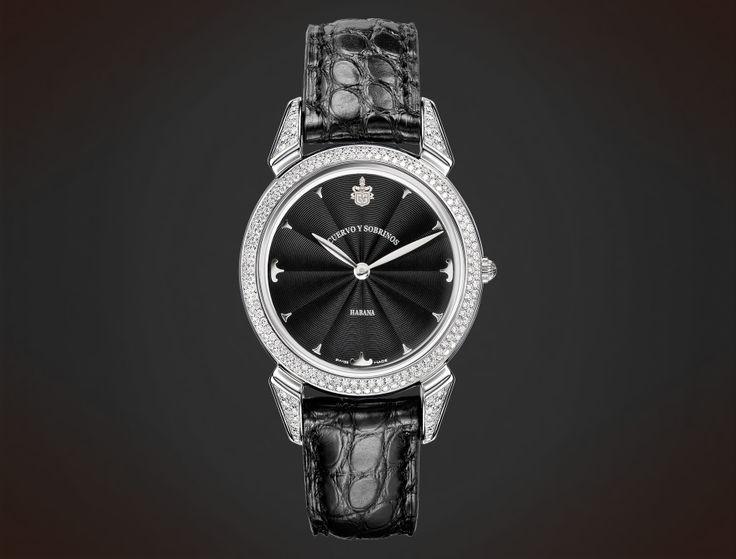 Cuervo y Sobrinos. Historiador Lady. Diamonds black guilloché. #watch #ladieswatch