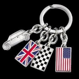 INTERNATIONAL KEYCHAIN - Split key ring with signature MINI Cooper, USA flag, UK flag and checkered flag charms. Silver finish.   http://www.shopminiusa.com/PRODUCT/108/INTERNATIONAL-KEYCHAIN