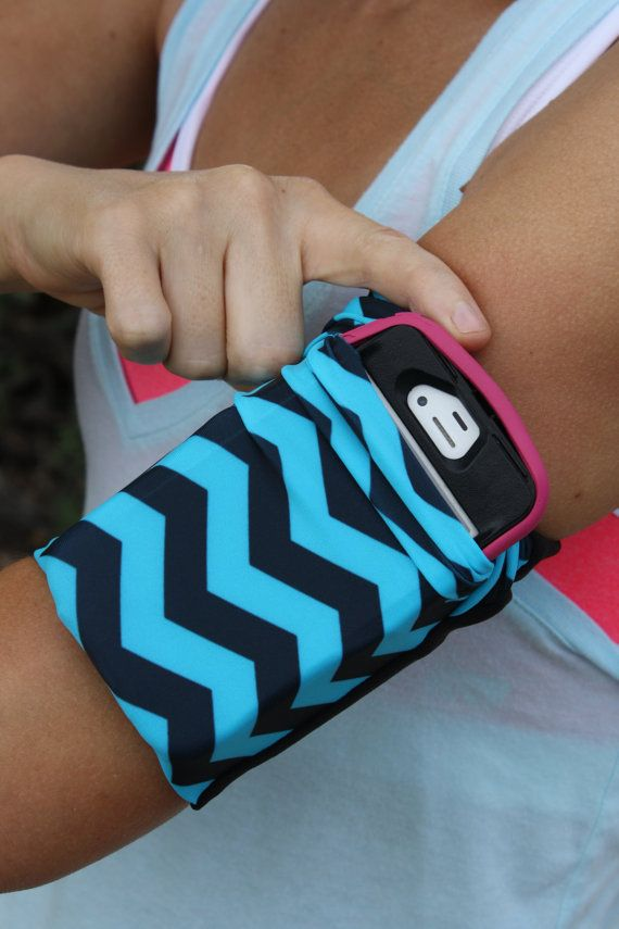 SMALL Cell Phone Arm band Running Jogging iPhone iPod Universal Electric Blue Chevron Armband Workout