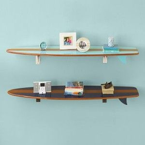 A Take On Surfboard Shelves Could Be Amazing! Two Surfboard Wall Shelves  With Items On Them