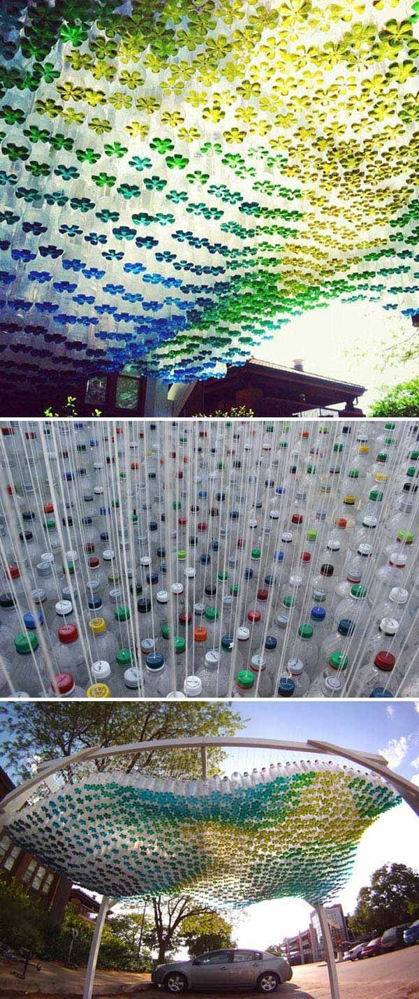 #14. A stunning parking canopy of recycled plastic bottles.
