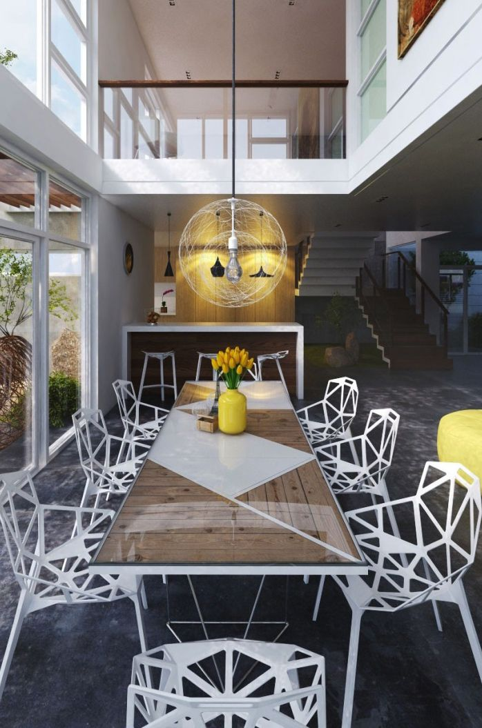 Modern dining #diningroom tables, chairs, chandeliers, pendant light, ceiling design, wallpaper, mirrors, window treatments, flooring, #interiordesign banquette dining, breakfast table, round dining table, #decorating
