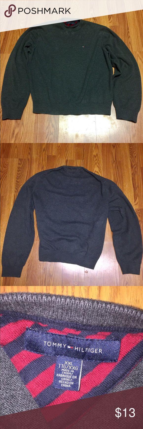 Tommy Hilfiger sweater Tommy Hilfiger dark grey sweatshirt pre washed very soft XXL fits true to size Tommy Hilfiger Sweaters Crewneck