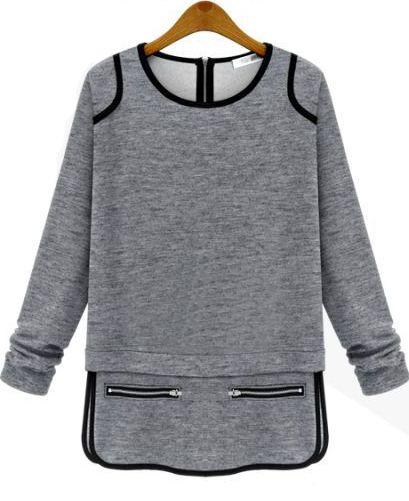 Grey Round Neck Long Sleeve Zipper T-Shirt