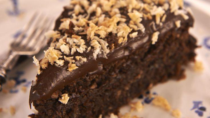 Chocolate coconut cake recipe from Rachel Allen.