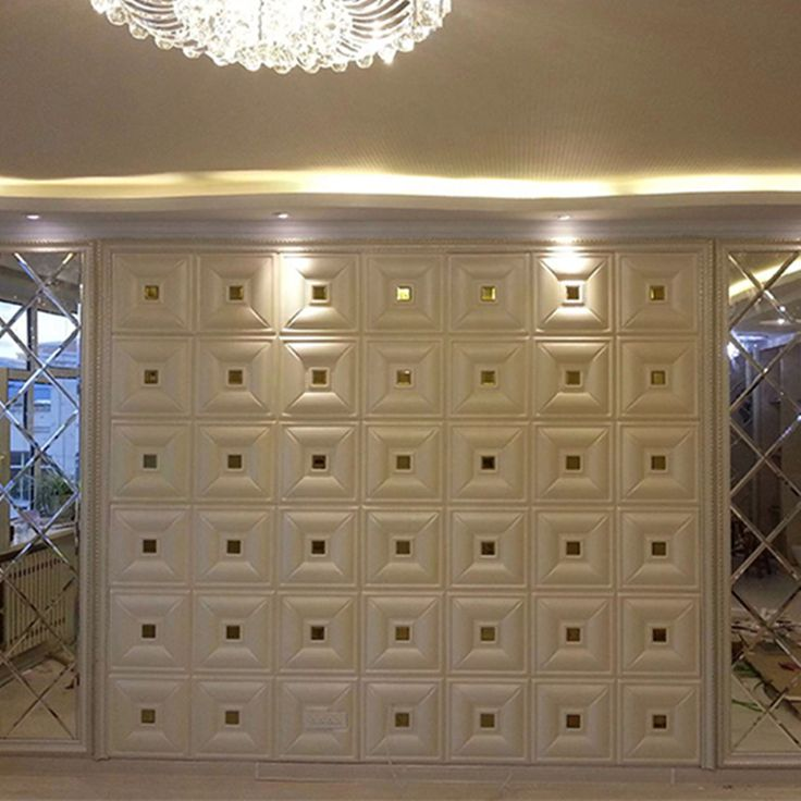 yazi Leather-Like Carved Mirror 3D Wall Panels DIY Self-adhesive PE Foam Wall Sticker Waterproof Wallpaper Home Wall Decor #Affiliate