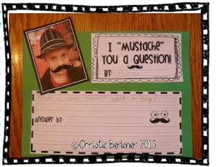 """First Grade Fever website. lots of cute ideas like making an """"about me"""" picture and learn about adjectives to describe themselves and """"mustache"""" you a question to learn about question marks."""