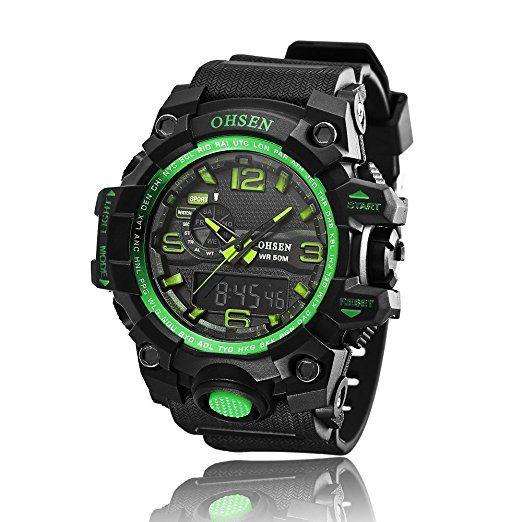 ad1606OHSEN para hombre analógico digital doble zona horaria reloj de pulsera de cuarzo de acero inoxidable en verde