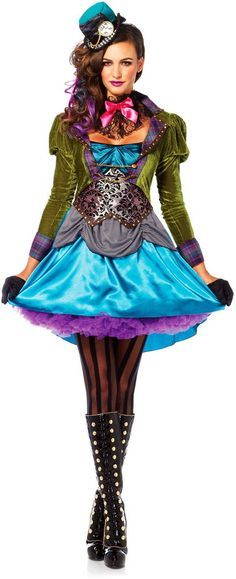 Mad As A Hatter Deluxe Alice In Wonderland Dress Fairy Tales Costume Adult Women #LegAvenue