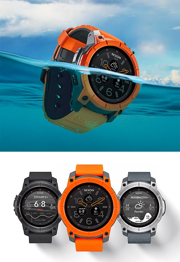 Nixon Mission Smartwatch -- Action sports watchmaker Nixon has finally created a smartwatch tuned for surfers and skiers. The Mission offers an Android-powered brain that delivers surf and snow data from around the world with a pair of pre-loaded apps. Its AMOLED display is protected by Gorilla Glass, it's water resistant up to 100 meters & the brand is offering lots of options for customization from various straps and finishes to custom display options