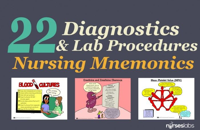 Oftentimes, the nurse alone is responsible for obtaining specimen collection which is vital to the correct diagnosis and treatment of the patient. With the many diagnostic procedures out there, how could you remember them all? Here are some helpful visual mnemonics and tips. CONTINUE READING: http://nurseslabs.com/diagnostics-laboratory-procedures-mnemonics-tips/