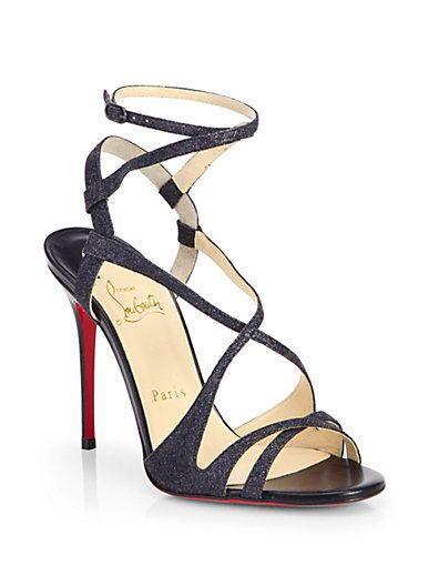 Christian Louboutin Audrey Glitter Strappy Sandals: Audrey Glitter Strappy Sands, Christians, Strappy Sandals, Louboutin Audrey, Christian Louboutin Shoes, Heels Red, Black Glitter, High Heels, Christianlouboutin