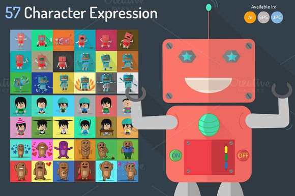 Check out 57 Character Expression by Graphiqa on Creative Market