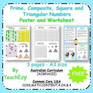 Prime Composite Square and Triangular Numbers Poster & Worksheet