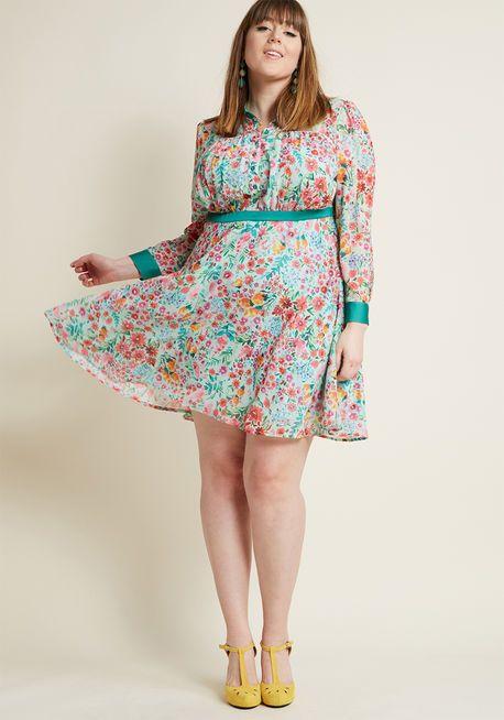 Long Sleeve Chiffon Shirt Dress in Mint