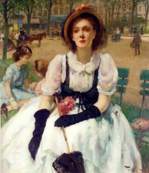 Femme élégante au parc, Paris