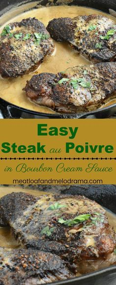 Easy Steak au Poivre - A quick and easy gourmet dinner of peppercorn crusted beef tenderloin fillets cooked in a rich bourbon cream sauce that's perfect for special occasions! Takes 15 minutes to make! from Meatloaf and Melodrama