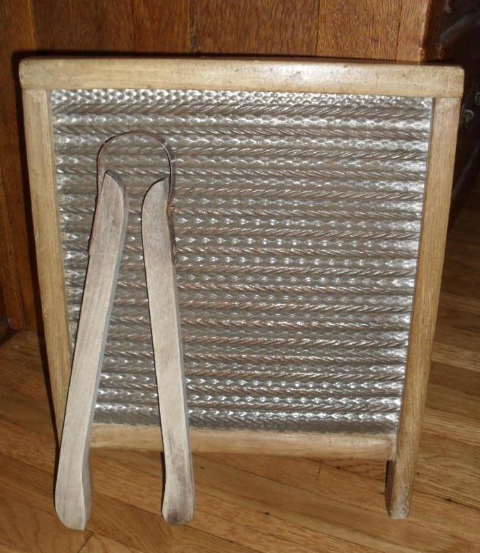 Old washboard & laundry tongs