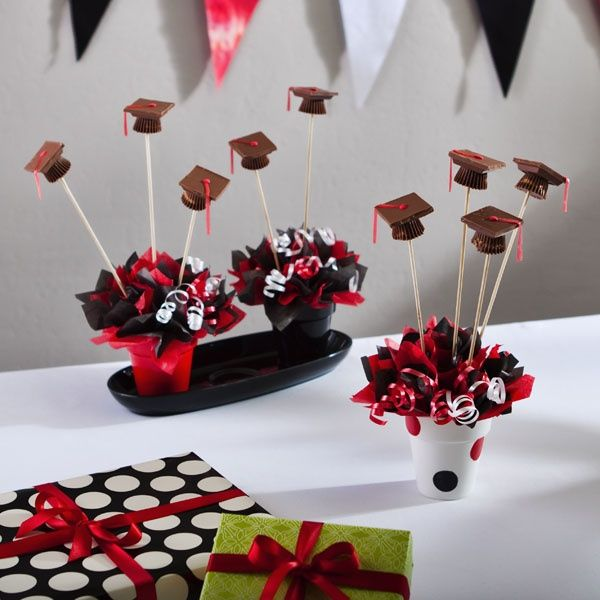 chocolate graduation cap candy pops graduation party centerpiecesgraduation decorationsgraduation capsgraduation ideasgraduation - Graduation Party Decoration Ideas