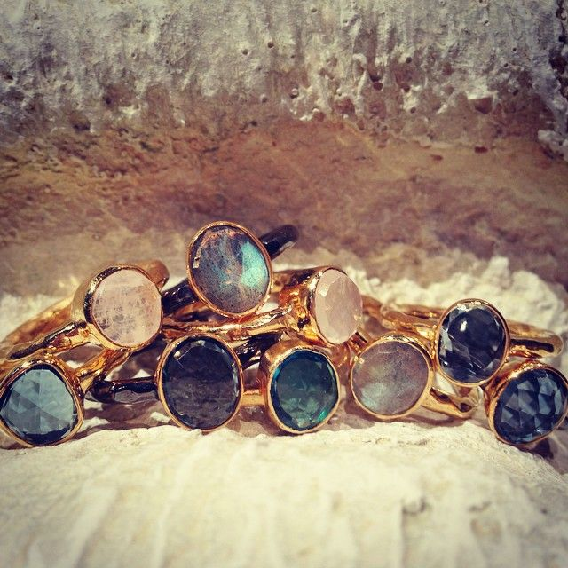 How I love stackables....so many options. #robindiraunsworth #robindira_unsworth #stackablerings #rings #ringparty #stacktothestars #showmeyourrings #gold #labradorite #londonbluetopaz #moonstone #iolite