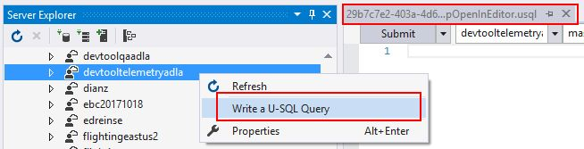 Ad-hoc query support in Azure Data Lake Tools for Visual Studio