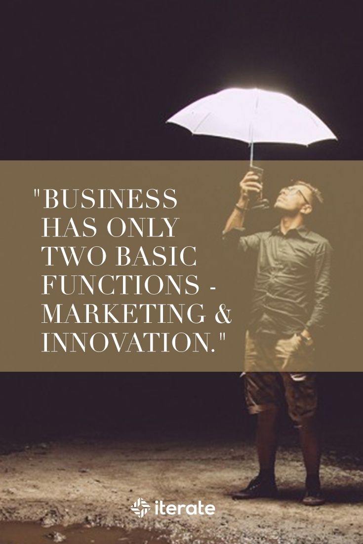 """Business has only two basic functions- marketing & innovation.""  #wednesdaywisdom #marketingquotes"