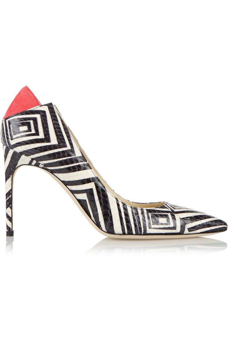 BRIAN ATWOOD Mercury suede-trimmed printed elaphe pumps. #brianatwood #shoes #pumps