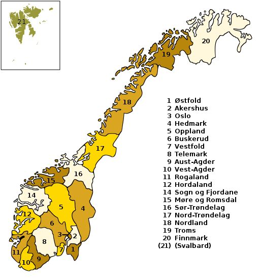 In Norway, a fylke divides the country into regions similar to a county. Each fylke has it's own Governor. Each fylke has a county seat, or capital, where the business of the area is administered. Each fylke may have a number of towns or villages. There are no states or provinces in Norway.