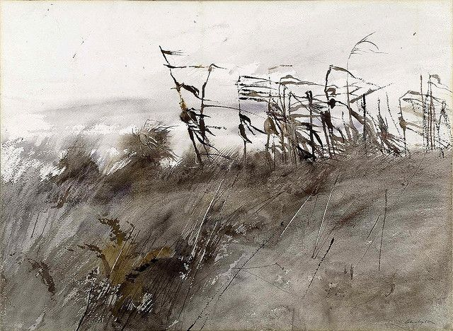Andrew Wyeth: November First, 1950  I love his studies & paintings of corn stalks (and Nov1 is my bday!):
