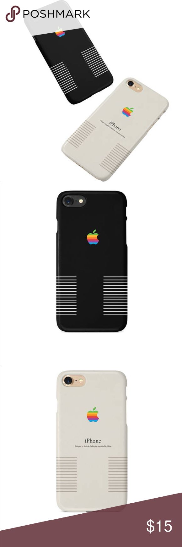 Retro Apple iPhone Case Black or White Choose color by mentioning in the comment or you will receive a color chosen at random. Retro classic Apple iPhone case. Price is firm. Discount only when you buy 3 or more from my closet.  ****Sizes Available**** • iPhone 6 / 6S • iPhone 7 • iPhone 6 Plus / 6S Plus • iPhone 7 Plus • iPhone 8 • iPhone 8 Plus  • iPhone X Returns in original condition accepted within 14 days. Buyer pays return shipping. apple Accessories Phone Cases