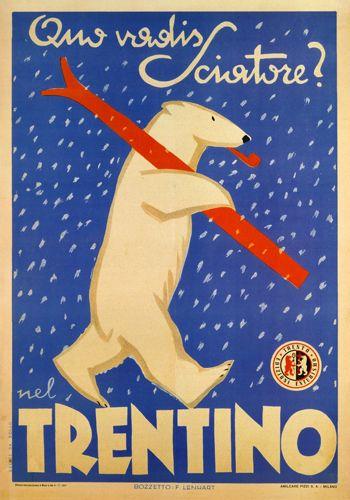 Trentino - reproduction Italian advertisement for ski resort. #Dolomiti #Dolomites #Dolomiten #Dolomitas #DolomitiUNESCO